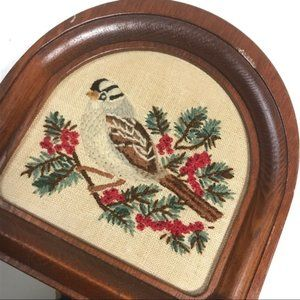 Vintage 80s Embroidered Bird Wall Accent Mirror